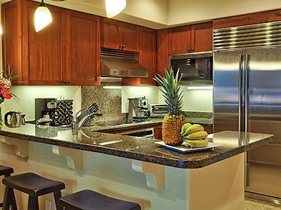 Our vacation home kitchen at Haliikai is fully equipped and thoughtfully stocked