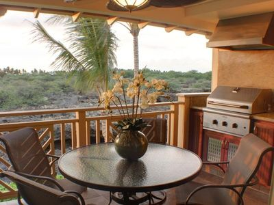 Mauna Lani condo rental - Lanai with Gas Grill, Hood and Wet Bar for Romantic Sunset Dinners & Views