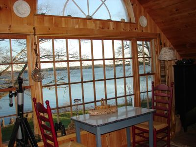 Cushing cottage rental - Bird's eye view of Broad Cove from the kitchen.