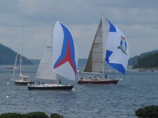 Southwest Harbor house photo - Sail boats race along the Manset shore