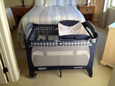 Playpen, daybed and changing table.