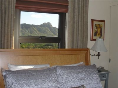 Enjoy this beautiful view of Diamond Head from this bedroom window.