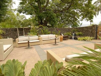 PRIVATE SECLUDED PATIO IS OUTSIDE THE FRONT DOOR, WITH A LAVA WATER FALL.