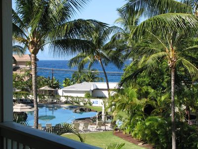 View from lanai to swimming pool and ocean looking southwest.