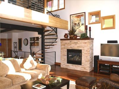 Old Town house rental - 3rd Fl: Living Room w/ Spiral Staircase to 4th Floor Loft