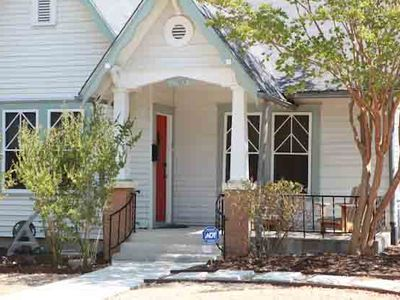 The front of our home, nestled in a quiet neighborhood close to South Congress!