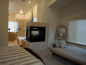 Fireplace, Jacuzzi and Shower in the Master Bedroom 1