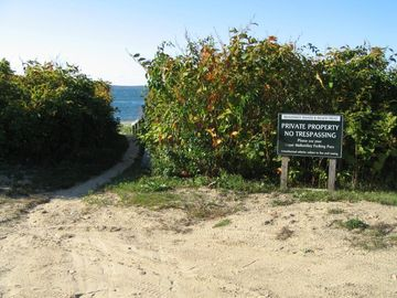 Entrance/parking at our private association beach. No crowds