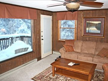 Snowshoe Mountain townhome rental - Beautiful view of woods from living room.