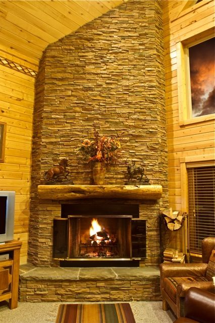 Fireplace, wood provided