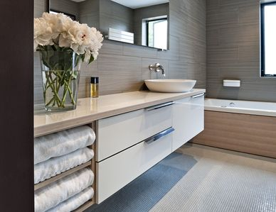 Master Ensuite Bathroom with Agape Fixtures, Bisazza Tile, Tub, & Walk-in Shower