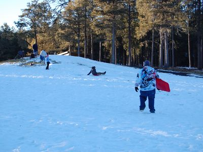 Golf Course becomes a sledding hill in the winter