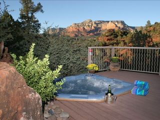 Sedona condo photo - Sparkling spa on garden deck suspended over an arroyo