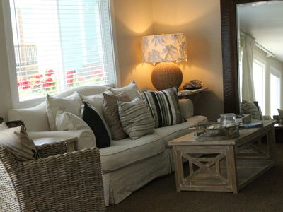 Comfy cozy living room with fun funky beachy accents and a new slipcover sofa
