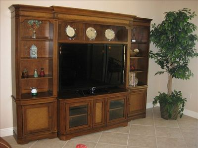 Entertainment center with 55 inch HD television