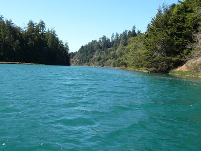 Take a scenic hike from the cottage through the redwood forest to Big River.