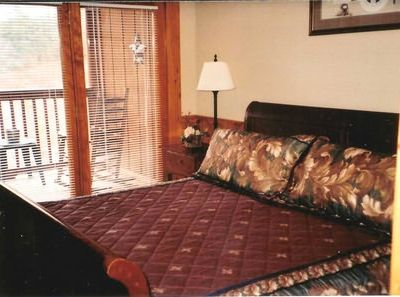 Pigeon Forge cabin rental - Upstairs Master Bedroom/King Sleigh Bed with Private Balcony