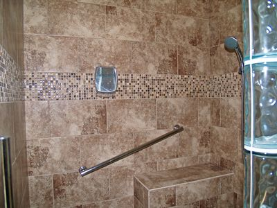 The fabulous master suite walk-in, tile and glass shower