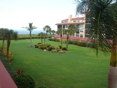 view of court yard from lanai and Gulf of Mexico