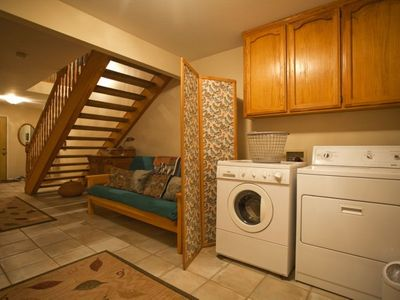 Downstairs Futon with Double Bed - Laundry Room