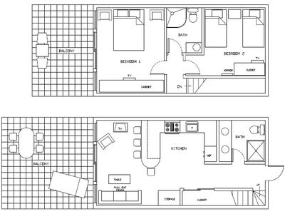 Our layout. Bottom is first floor and top is second floor (2 bedrooms!)