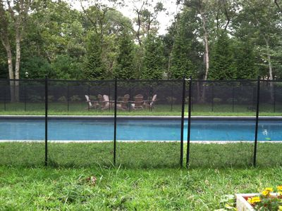 Safety fence around pool.