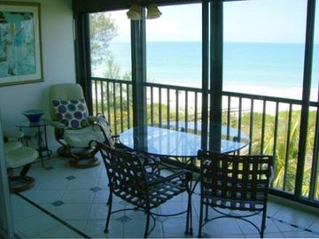 Comfortably furnished gulf front lanai for your enjoyment.