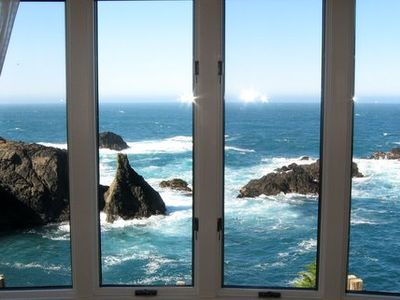 Mendocino cottage rental - View of the Ocean from the sitting area of Abalone Arch