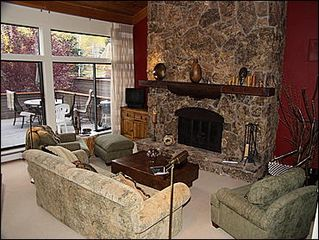 Snowmass Village townhome photo - Living Room with stone fireplace