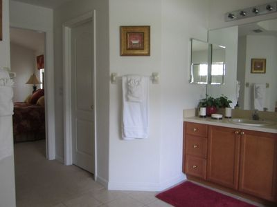 Master Ensuite featuring 1 of 2 sink units, Roman Tub ,Large shower,separate WC.
