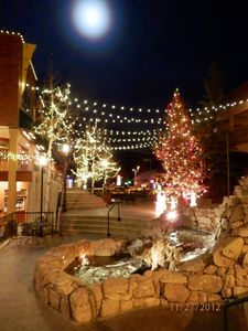 Winter Park village will a full moon.