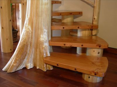 Climb your own spiral stair case made from a cedar tree right off the property.