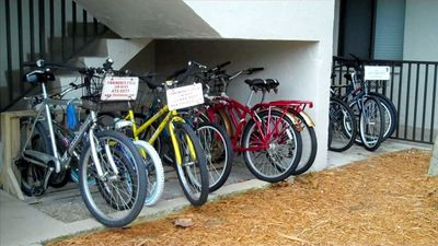 Biking is fun in Sanibel - Park your bike by our stairs