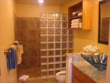 Master Bathroom with designer glass sinks and glass block shower