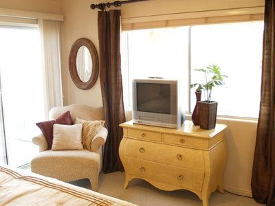 Master bedroom sitting area, TV,DVD,VCR, private entrance to balcony