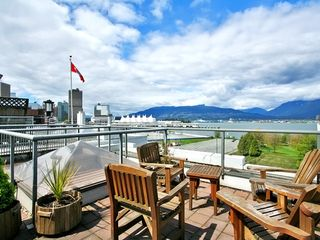Vancouver condo photo - Vancouver harbour & mtns from common rooftop deck