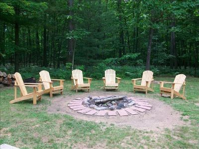 Backyard and Fire Ring with Adirondack Chairs