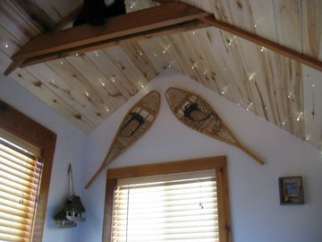 Upstair Loft with old pair of snowshoe's Fiber-Optic star lights in ceiling