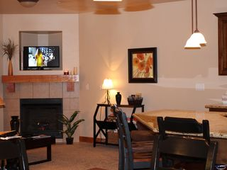 Bear Hollow Village condo photo - Living Room with Fireplace, Couch (also a pull-out sleeper)a Flat Srn TV 400 chs