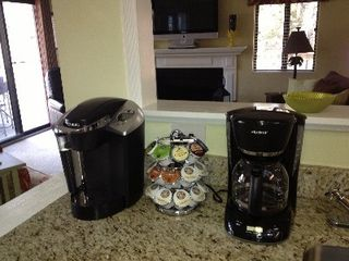 Shipyard villa photo - Keurig with starter K-cups and regular coffee maker at the wet bar