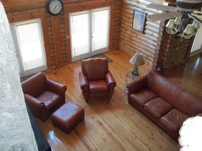 Bostic cabin rental - Livingroom on main floor viewed from loft