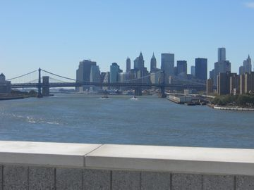 View from roof. Brooklyn, Manhattan Bridges. NYC skyline!
