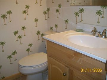 Master Bathroom, Renovated with new fixtures and ceramic tile flooring