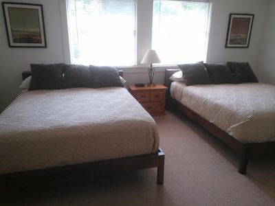 Two queen beds and full bath