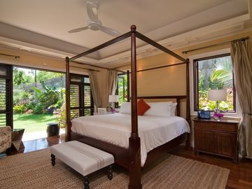 Each luxurious bedroom has a private patio or balcony open to garden or sea view