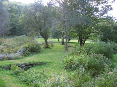 Woods surround 2 acres of landscaped lawn, apple orchard, 3 ponds, and 2 streams