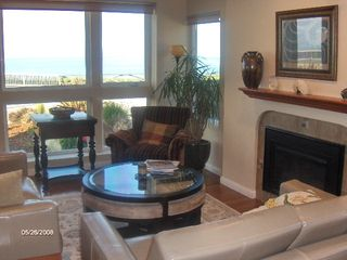 Santa Cruz house photo - Ocean view living room with gas fireplace