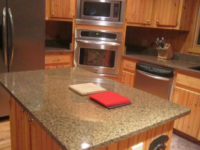 Lake Lure lodge rental - Kitchen features Professional Grade Appliances and large work island.