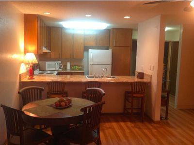 Spacious kitchen with huge granite counter tops