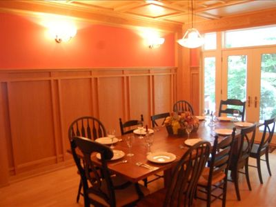 Dining room with wood paneling and wood coffered ceiling